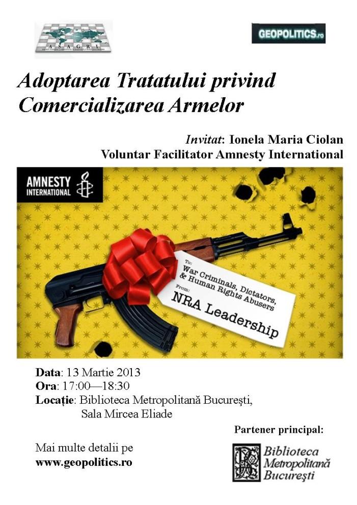 Conferinţă: Adoptarea Tratatului privind Comercializarea Armelor
